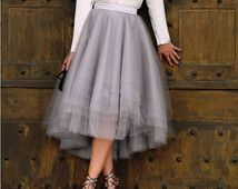 SKIRT High-Low Assymetrical Grey Tulle Custom with Satin Lining Bridal Separates