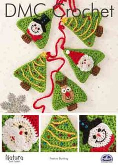 This crochet pattern from DMC features christmas tree bunting, with snowman, santa and reindeer faces. The pattern uses DMC Natura Just Cotton yar Price: Thread Crochet, Crochet Yarn, Crochet Hooks, Crochet Bunting, Crochet Garland, Reindeer Face, Santa And Reindeer, Snowman, Christmas Bunting