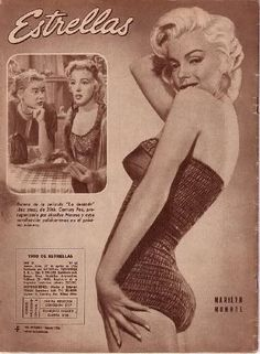 Marilyn Monroe on the back cover of Estrellas magazine,  1956, Argentina. Back cover photo of Marilyn by Bert Reisfeld, 1953; inset photo of Marilyn with Hope Lange in a scene from Bus Stop, 1956.