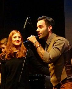 Ramin at a show with Hadley Fraser! At the St. James Theater. 10/27/12