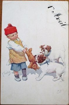 Bulldogs, Teddy Bear & Child 1913 Artist-Signed Dog Postcard-First/Premier Avril. Pinned by Judi Crowe.