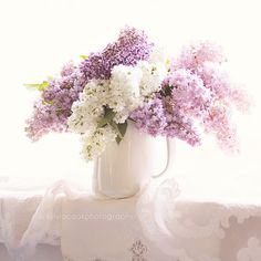 """Shabby chic home decor, """"White and purple lilacs"""" still life, floral photography, pastel photograph on Etsy, $35.00"""