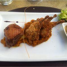 Pato y codorniz con puré de zapallo y salsa de champiñones