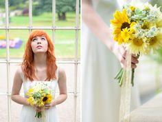 Sunflower, ammi and succulent bouquet