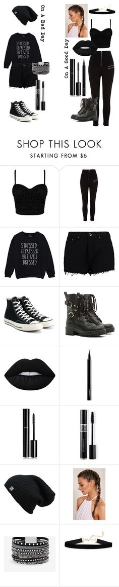 """Good Days Vs. Bad Days"" by catthepunisher ❤ liked on Polyvore featuring River Island, Boohoo, Converse, RED Valentino, Lime Crime, MAC Cosmetics, Chanel, Christian Dior and White House Black Market"