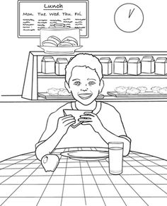 Back to School First Grade Places Life Learning Worksheets: Lunchtime Coloring Page