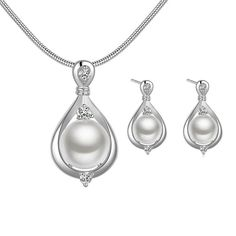 HFJandYIEandH Fashion Drop Shape Copper Silver Plated Jewelry Sets(White)(1Set) * Check out this great article.