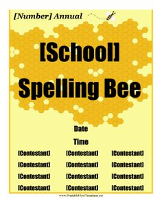 A gold honeycomb pattern and a bumblebee decorate this printable school flyer. Free to download and print