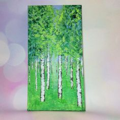 This (approx) 38 by 19.7cm, 1.5cm deep, original acrylic painting is painted on canvas, and can be hung as is. Birch trees in summer form a bright scene perfect for brightening a room. Each painting is unique, I may make prints and cards, or paint similar scenes, but each original is