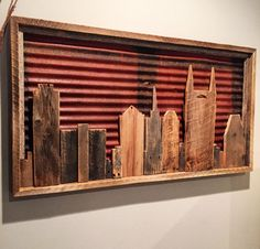 """Reclaimed Nashville Framed Skyline. Constructed of 75+ year old Barn Wood and Barn Metal roofing. Dimensions: 43"""" Long X 23"""" Wide X 2.5"""" Thick - $197"""