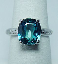 Vintage Belais Nat Cushion 7ct Flawless Blue Zircon Diamond Ring 18K White Gold Antique Rings, Antique Jewelry, Unusual Rings, Harry Winston, Blue Zircon, Diamond Are A Girls Best Friend, Beautiful Rings, Absolutely Gorgeous, Ring Designs
