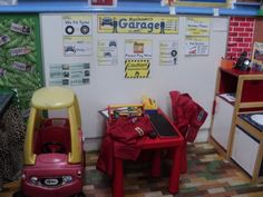 Role Play Corner, Mechanics Garage, Garage, Cars, Toy Cars, Fixing, Tyres, Car, Classroom Display, Early Years (EYFS), KS1 & KS2 Primary Teaching Resources