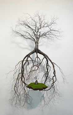 "Suspended Tree Sculptures Connect an Artist to His Cuban Roots Jorge Mayet ""Sobre natural"" wire, paper maché, textil and acrylics, x x inch Wire Tree Sculpture, Sculpture Art, Wire Sculptures, Land Art, Motif Art Deco, Colossal Art, Wire Trees, Tree Roots, Design Museum"