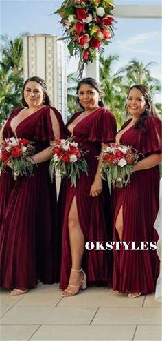 A-line V-neck Short Sleeves Split Long Bridesmaid Dresses With Pleats, BD0630#bridesmaids #bridesmaiddress #bridesmaiddresses #dressesformaidofhonor #weddingparty #2020bridesmaiddresses