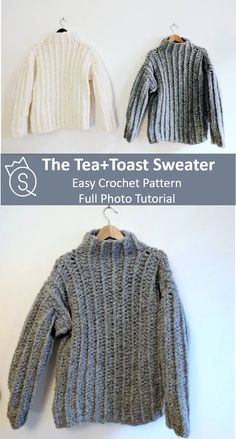 Super easy crochet pattern for a super cozy sweater. Full photo tutorial available Super easy crochet pattern for a super cozy sweater. Full photo tutorial available Crochet Jumper Pattern, Jumper Patterns, Sweater Knitting Patterns, Easy Crochet Patterns, Crochet Cardigan, Crochet Sweaters, Crochet Jumpers, Stitch Patterns, Chunky Crochet