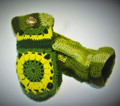 Unique Green and Gold Afghan Mittens by DesignerMittens on Etsy Sweater Mittens, School Sets, Green And Gold, Fingerless Gloves, Arm Warmers, Pairs, Trending Outfits, Unique Jewelry, Handmade Gifts