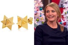 Cameron Diaz's Gold 3D Star Studs on 'Good Morning America' - TV Fashion Roundup: December 01, 2014 - StyleBistro Elisabeth Bell Jewelry Merkaba Stars
