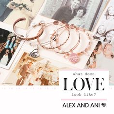 "Celebrate """"Love"""" with a Love Charm Bangle symbolizing Affection, Joy & Light and a Because I Love You Charm Bangle symbolizing being Heartfelt, Appreciative & Connective! #AlexandAni #Love #Bangles #Charms"""