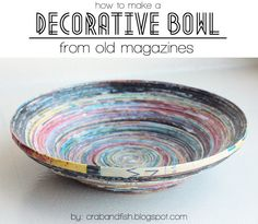 DIY Decorative Bowl from Old Magazines | crab+fish