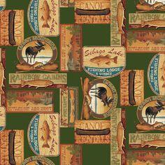 Green/Multi Lodge Retreat Adirondack Woods Benartex 1/2 Yard Cotton Fabric 6113B #Benartex