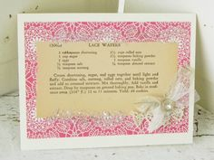5Handmade Vintage Recipe Greeting Card Lace Wafers Homespun Card w/ Antique Lace Rhinestone Button