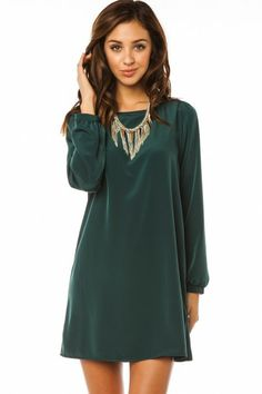 Middleway Shift Dress in Deep Green