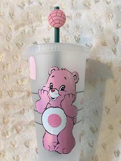 Starbucks Cup Gift, Starbucks Cup Design, Secret Starbucks Drinks, Custom Starbucks Cup, Cheap School Bags, Custom Cups, Cute School Supplies, White Cups, Care Bears