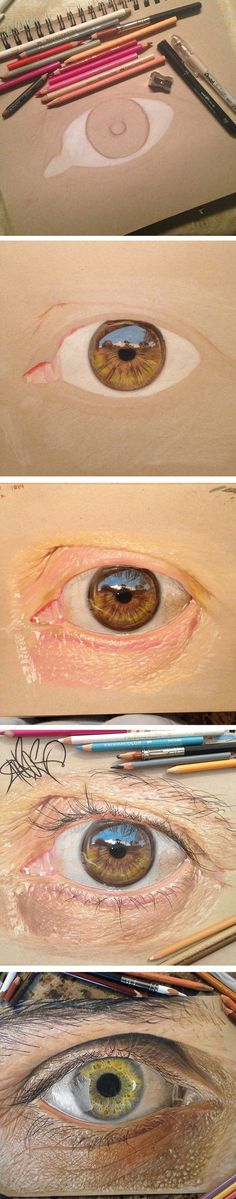 """I've always loved to work with details, and drawing eyes seemed like the perfect challenge."":"