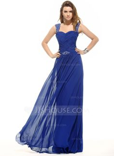 A-Line/Princess Sweetheart Floor-Length Chiffon Evening Dress With Ruffle Beading (017016054)