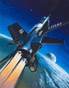 https://flic.kr/p/ySrzZw | X-15 Rocket Plane. Artist: Wilf Hardy | Illustration on p.23 of 'Look and Learn' issue no. 214 (15 February 1966).  Three X-15s were built, flying 199 test flights, the last on 24 October 1968. Scott Crossfield piloted the first powered flight, on 17 September 1959. In July and August 1963, pilot Joe Walker crossed the 100 km altitude mark, joining the NASA astronauts and Soviet Cosmonauts as the only humans to have crossed the barrier into outer space at the time.