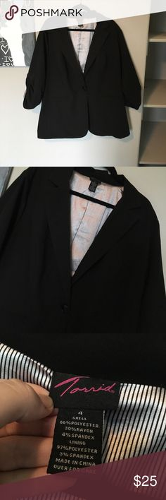 Torrid blazer Size 4X This is absolutely stunning but was never worn due to it being to large, perfect for my curvy business women! 💙All Items 8 dollars or more are negotiable 💙I do not use any other sellers app 💙Ask any questions you wish about any of my products  💙Bundles are more negotiable  💙Happy poshing torrid Tops Button Down Shirts