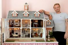 From real brick and slate to crystal chandeliers, this hairdresser makes incredible dolls' houses as a hobby - Wales Online (jt-exterior pinned alongside)