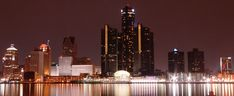 The Detroit International Riverfront and skyline — Detroit, Michigan. From across the Detroit River in Windsor, Canada. 2006 (exactly 1 week before Superbowl XL) by Shakil Mustafa. Date 29 January Detroit Skyline, Detroit Michigan, Seattle Skyline, New York Skyline, Visit Detroit, Detroit Usa, Night Skyline, Trump Train, American Literature