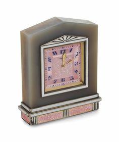 Swiss art deco agate, enamel and guilloche clock, circa 1925