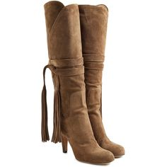 Chloé Suede Knee Boots ($623) ❤ liked on Polyvore featuring shoes, boots, chloe, green, round toe boots, suede boots, bohemian boots, chloe boots and knee high fringe boots