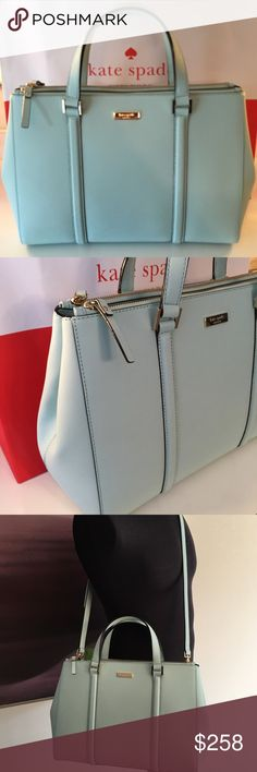 KATE SPADE NEW HANDBAG/SHOULDER BAG 100% AUTHENTIC KATE SPADE NEW WITH TAGS NEVER USED MINT GREEN HANDBAG/SHOULDER BAG/ CROSSBODY BAG.  STUNNING AND SO VERY STYLISH BAG PERFECT FOR ANY OCCASION.  THIS BAG IS A SHOW STOPPER AND DEMANDS ATTENTION.  IT HAS THREE CENTER COMPARTMENTS . THE BAG HANDLES HAVE A 5 INCHE DROP AND IT ALSO COMES WITH A REMOVABLE AND ADJUSTABLE SHOULDER/ CROSSBODY STRAP . THIS BAG MEASURES 16 INCHES WIDE BY 10 INCHES HIGH BY 6 INCHES DEEP kate spade Bags Shoulder Bags