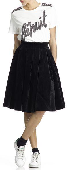 Jupe en velours avec plis Janice Noir by MAJE