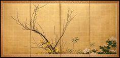 Japanese Screen: Plum Branch on gold, c. 1930.
