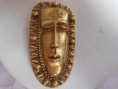 Vintage brooch Mayan tribal mask brooch face brooch by denise5960