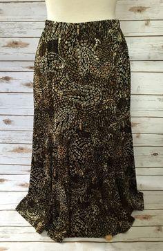 Chico's Travelers size 2 Black Brown Beige Mosaic Slinky Travel Knit Skirt #Chicos #StretchKnit