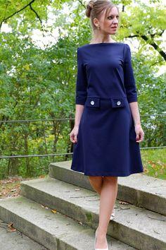 Kleider - 60er Jahre Jerseykleid Joanne dunkelblau 1x Gr. S - ein Designerstück von Cordelia-Baethge bei DaWanda