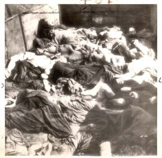 Dachau, Germany, 1945, A freight car loaded with bodies of victims of the concentration camp after liberation.
