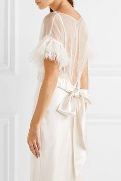 Halfpenny London | JoJo feather and satin-trimmed silk-blend organza top | NET-A-PORTER.COM