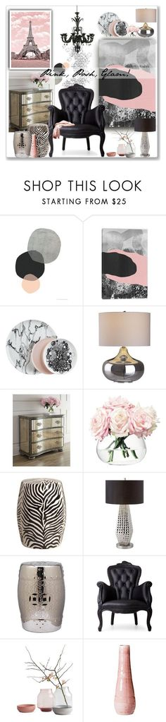 """Pink, Posh, Glam!"" by designsbylea on Polyvore featuring interior, interiors, interior design, home, home decor, interior decorating, Crate and Barrel, LSA International, Dot & Bo and Safavieh #homedecoraccessories"