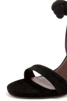 Report Signature Zany Black Suede High Back Peep Toe Heels at LuLus.com!