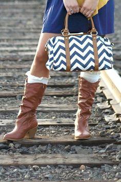 Navy Chevron Print Satchel  #nanamacs.com #nanamacs_boutique Nanamacs Boutique, Navy Chevron, Knee Boots, Satchel, My Style, Bags, Canvas, Fashion, Blue Chevron