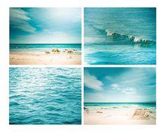 nautical decor print set beach photography coastal prints 8x8 8x10 8x12 teal wall art aqua teal blue abstract water waves ocean photo summe