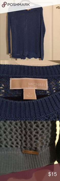 "Michael Kors Cotton Sweater Gently used blue fish-net Michael Kors cotton sweater. Measurements:  across chest armpit to armpit 18.5"" (not stretched) 28"" from top of neck on back to bottom of sweater. Michael Kors Sweaters"
