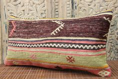 Bohemian Handmade lumbar Kilim pillow cover 10x20 by stripepattern