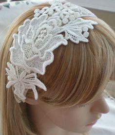 Bridal Headband Lace Headband Floral Lace Headband  by Scarflovely, $14.00